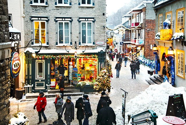 Quebec City, historic district, winter holiday.