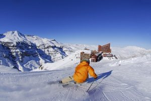 Sunshine skiing in Valle Nevado Chile