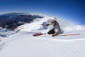 Skiing powder atop Treble Cone, NZ