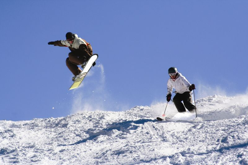 Rider and skier