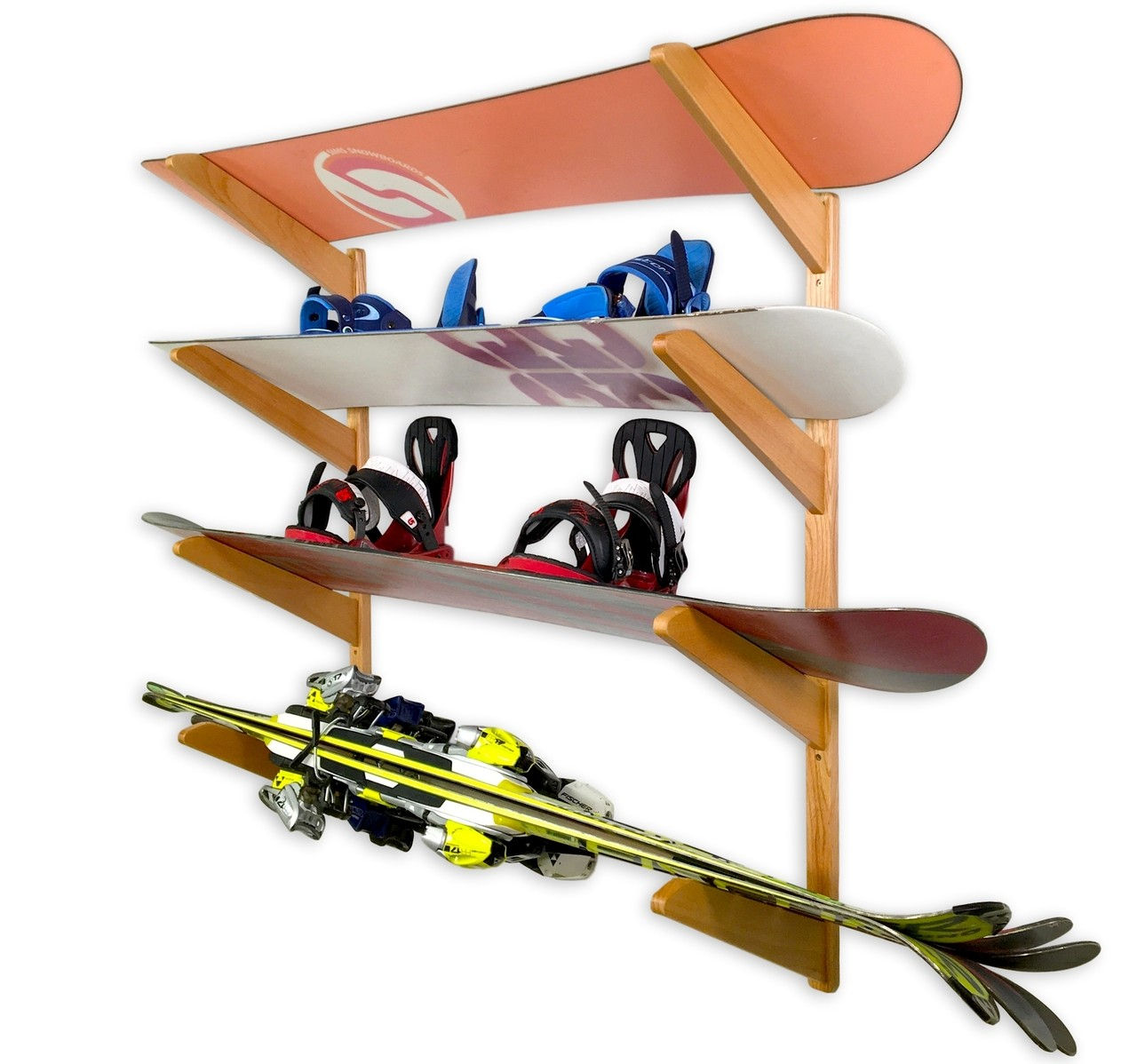 Timber solid snowboard rack holds multi boards