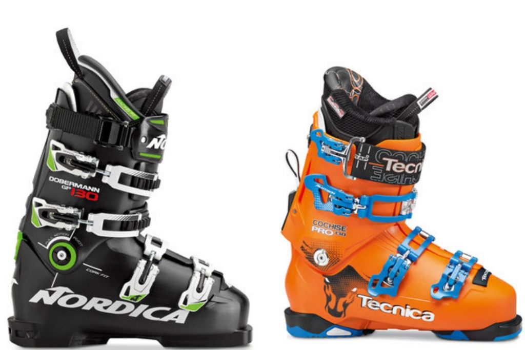 A pair of Nordica and Tecnica ski boots.
