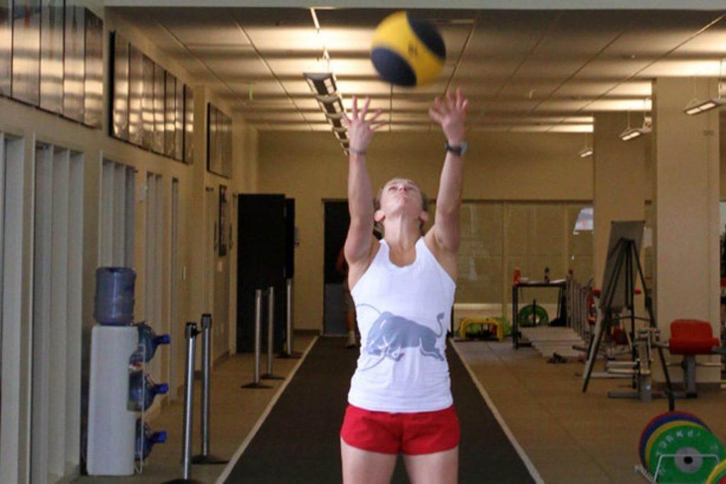 Heather McPhie doing an overhead ball throw