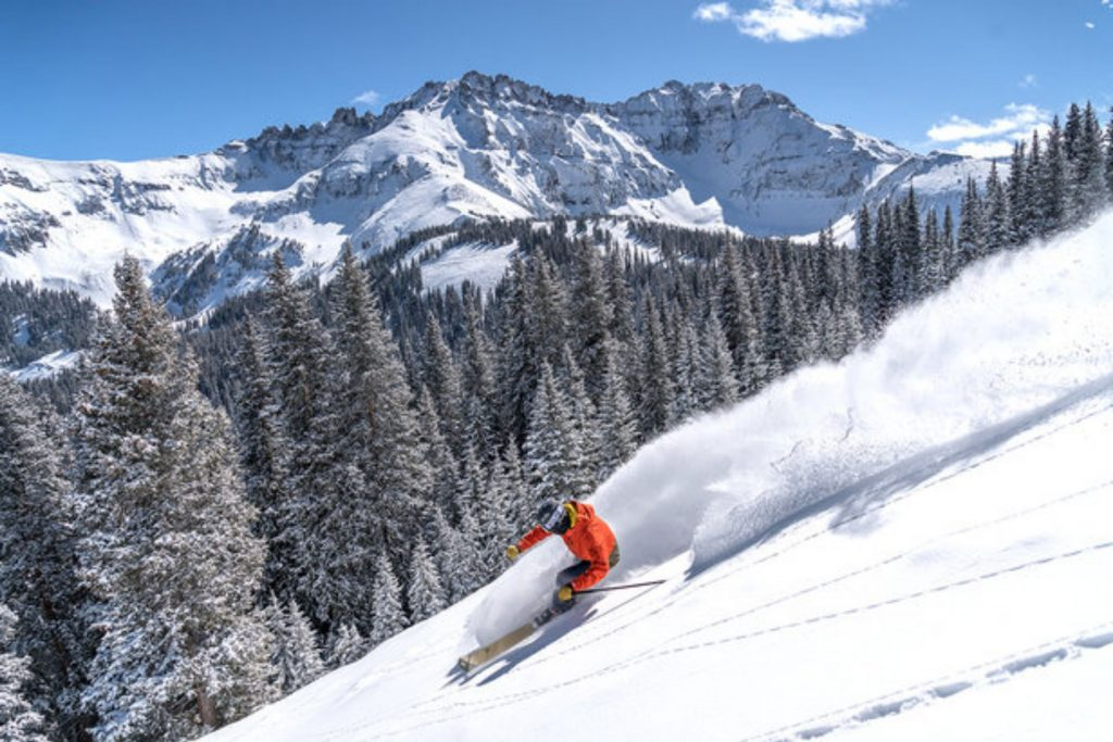Skiing soft snow at Telluride