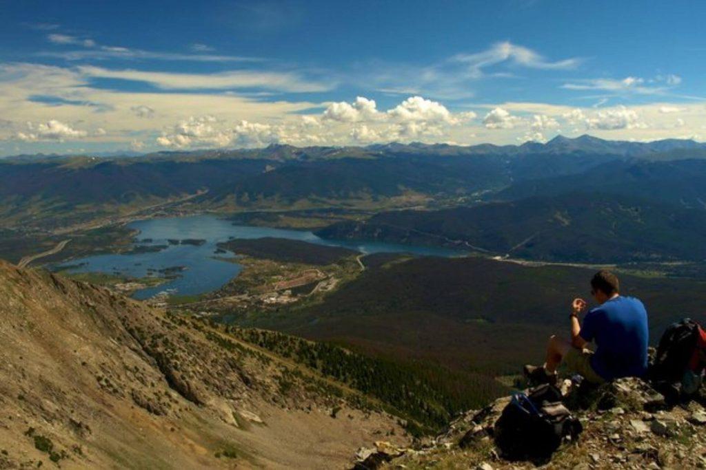 Lake Dillon set among the mountains of Summit County.