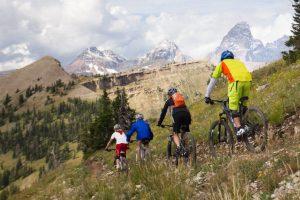 Family biking in the mountain Grand Targhee