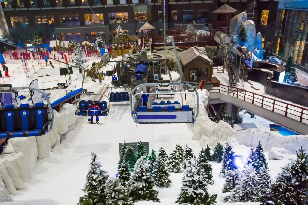DUBAI, UAE - NOVEMBER 21, 2018: Ski Dubai indoor ski resort