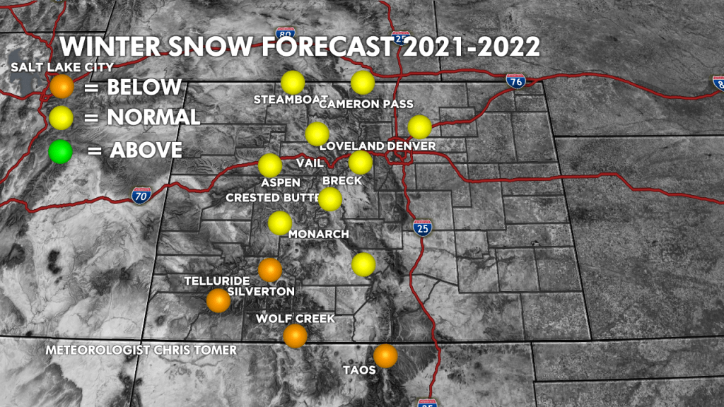 2021/2022 Winter Snow Forecast for the Colorado area. (Graphic provided by Chris Tomer)