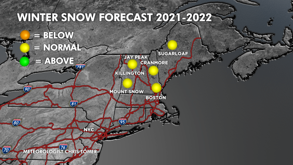 2021/2022 Winter Snow Forecast for the Northeast. (Graphic provided by Chris Tomer)