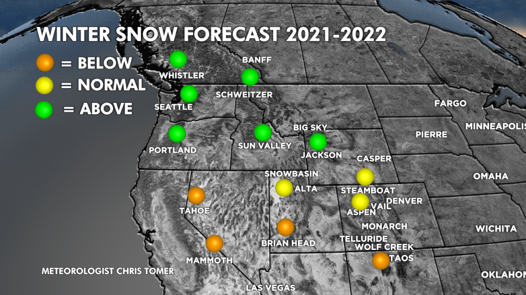 2021/2022 Winter Snow Forecast for the West. (Graphic provided by Chris Tomer)